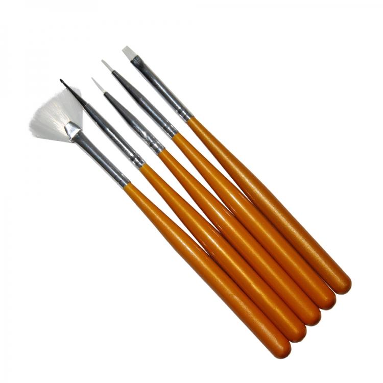 Набор кистей для дизайна ногтей (5 шт)
