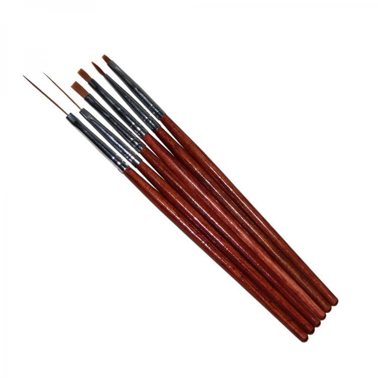 Набор кистей для дизайна ногтей гель, краски (6 шт)