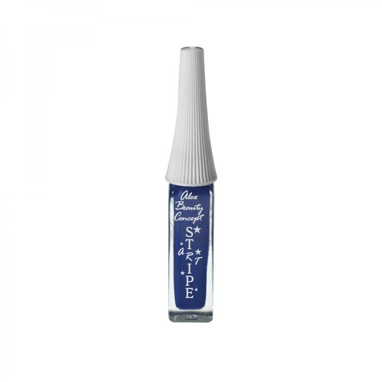 Stripe Art Лак для ногтей с тонкой кистью для дизайна (blue metallic) 8 мл