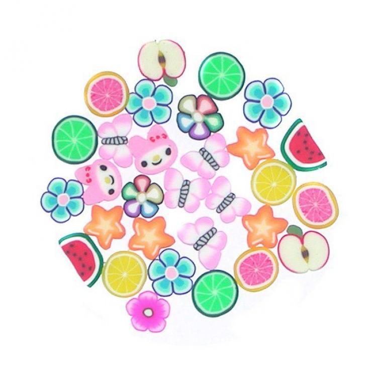 Украшения для дизайна ногтей нарезанные - фрукты, цветы, бабочки, звезды
