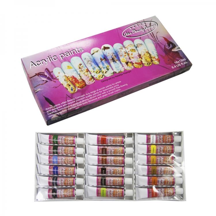 Краски акриловые для ногтей ABC 18 цветов по 12 мл.